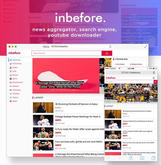 اسکریپت سایت خبری با موتور جستجو InBefore
